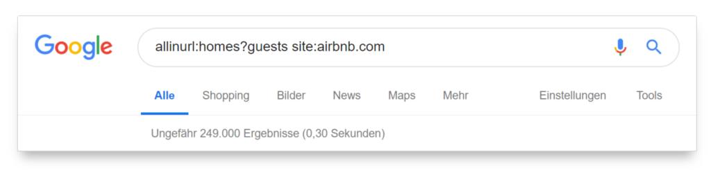 commande guest pour examiner un certain nombre de pages d'airbnb.com indexées