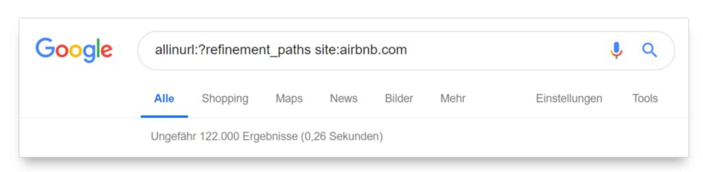 commande pour examiner un certain nombre de pages d'airbnb.com indexées