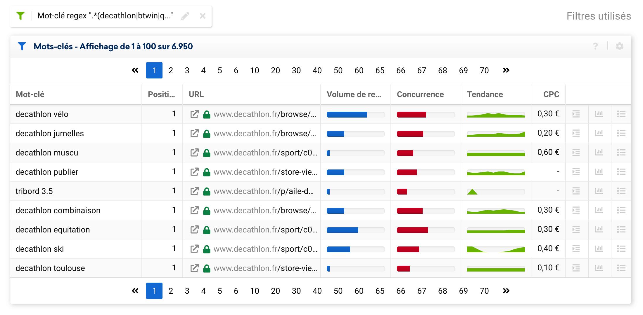 Résultats obtenus en appliquant la regex pour filtrer tous les mots-clés de marque