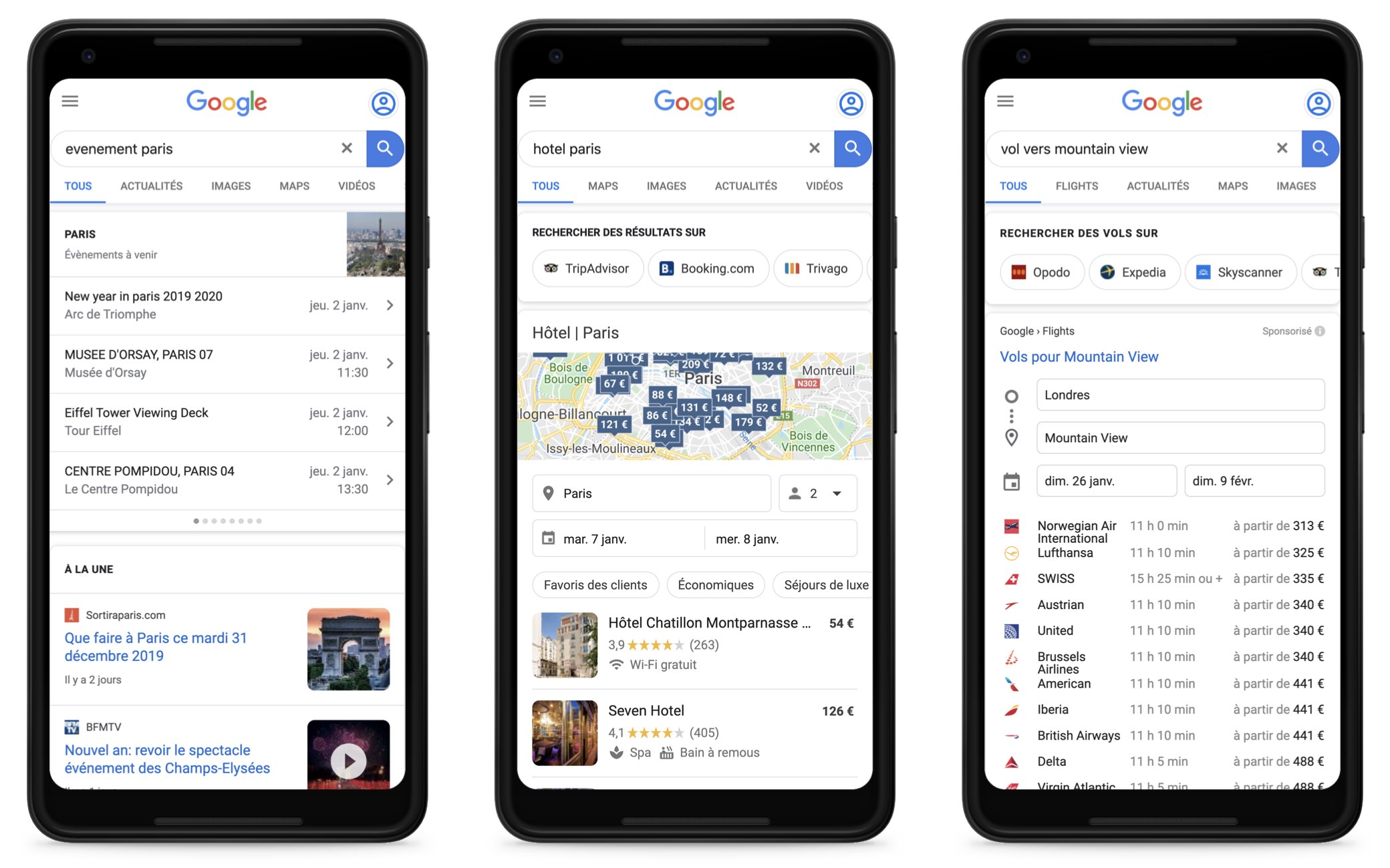 evenements, hotels, vols Google