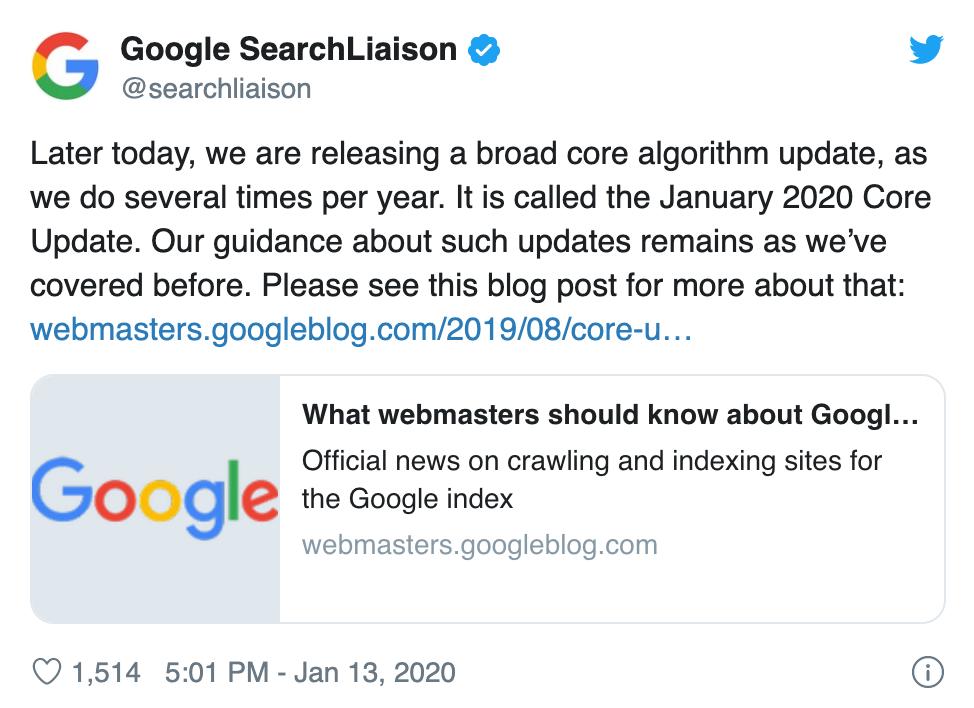 Tweet search liaison Juanuary core update
