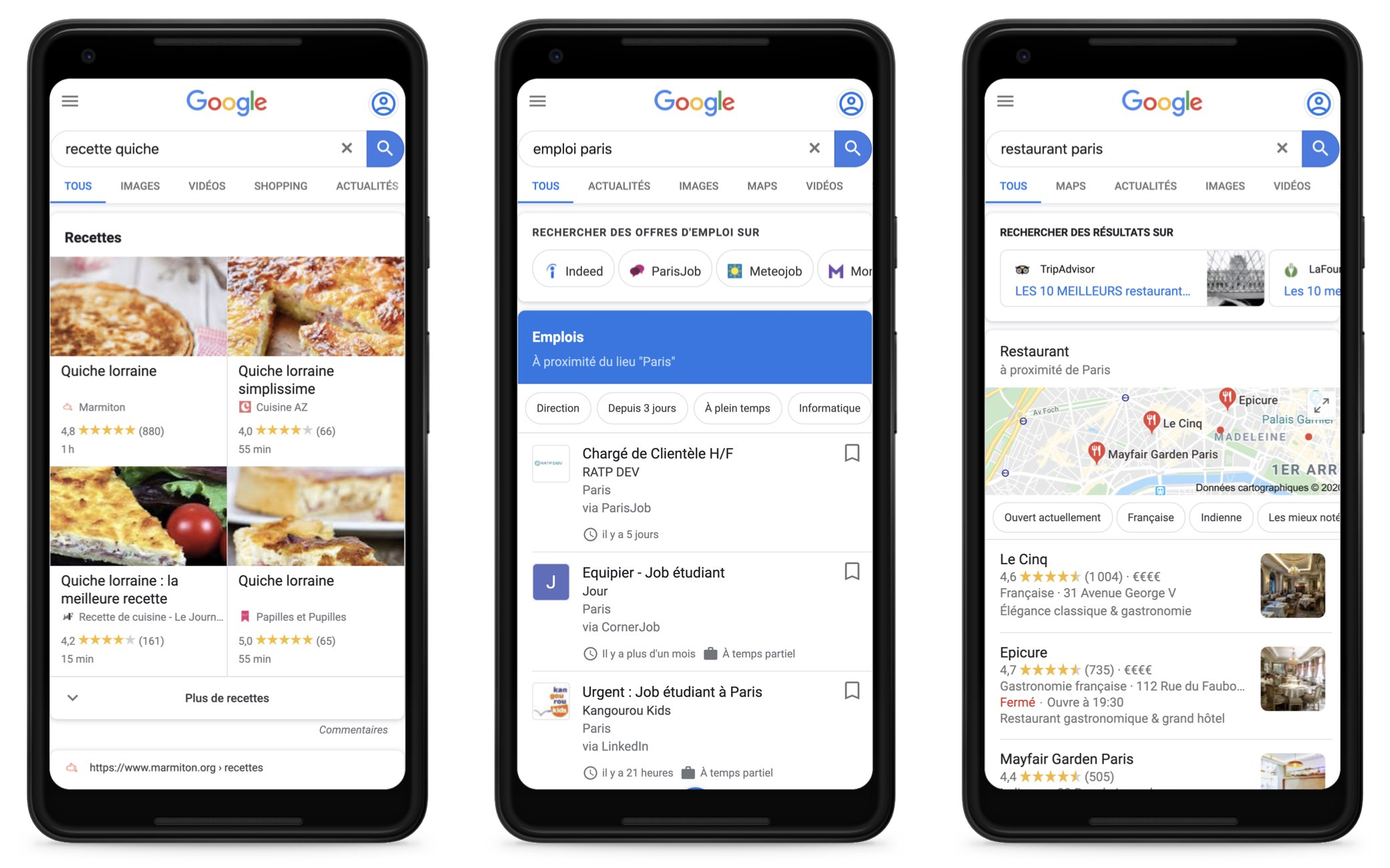 recette, emploi, restaurant in Google