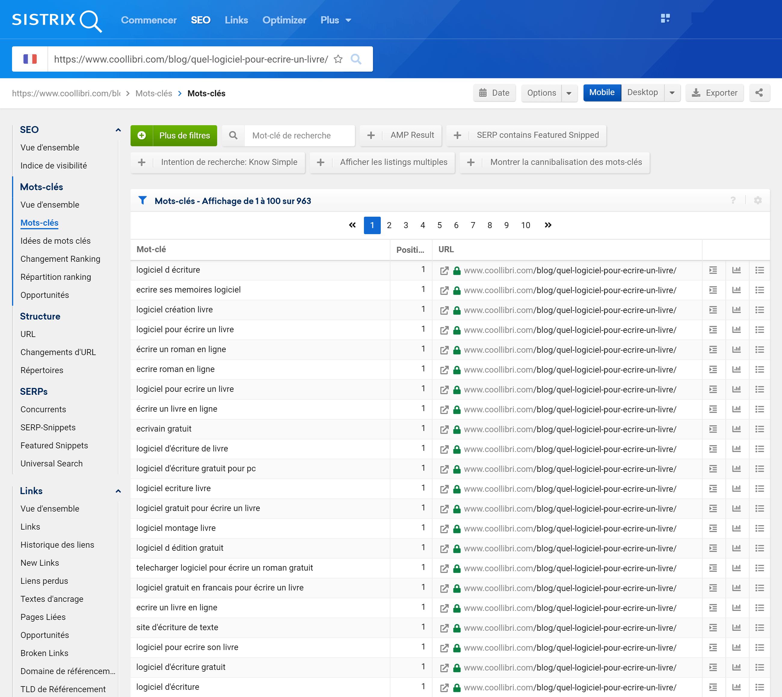 Mots-clés indexés pour une URL