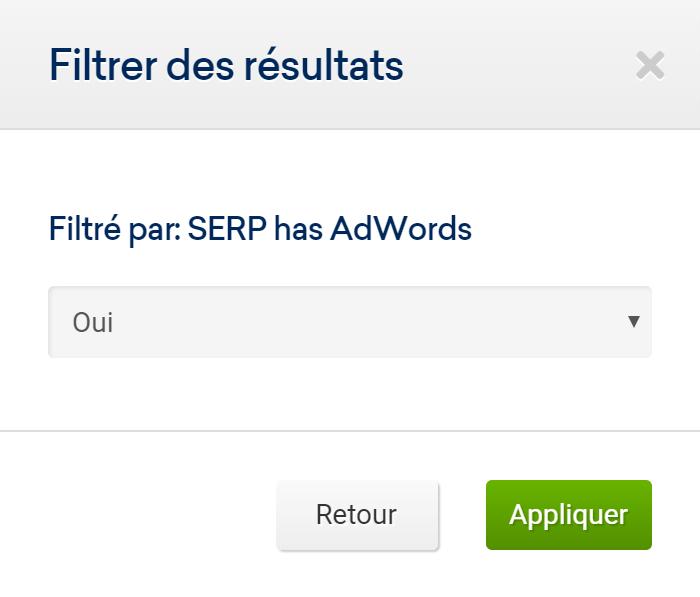 Filtre Serp has AdWords