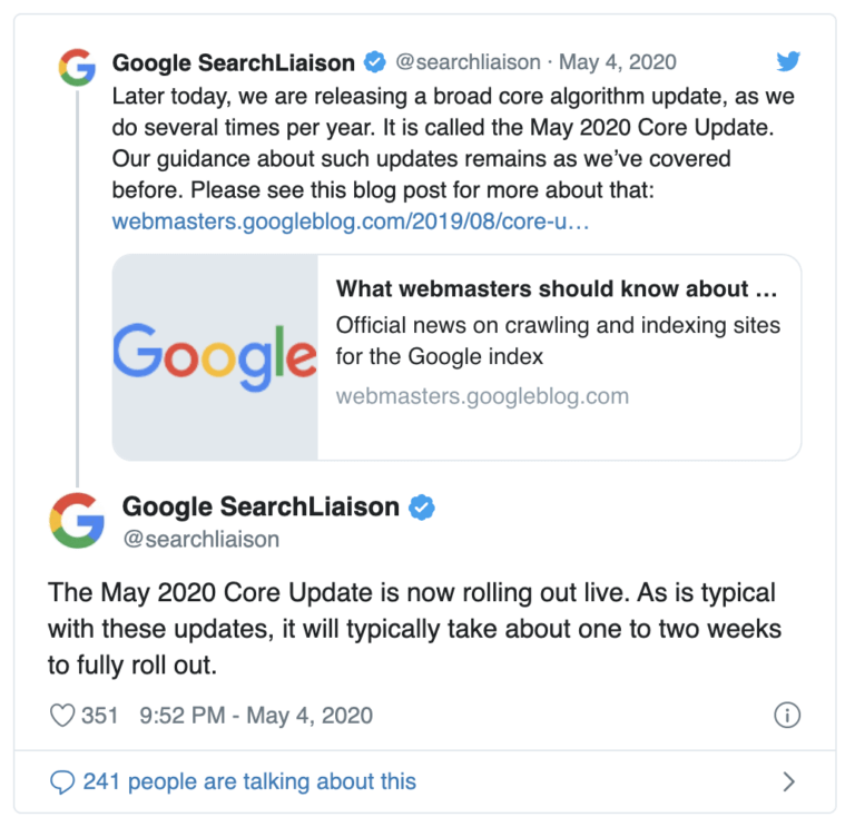 May 2020 Google Core Update