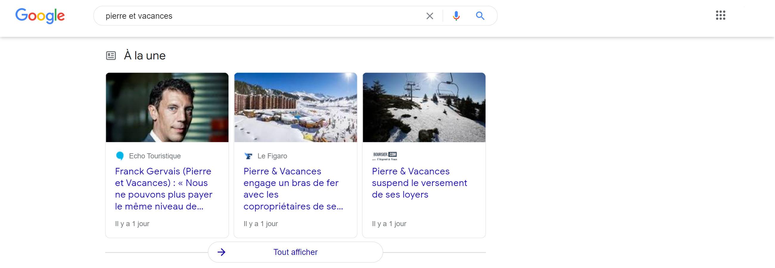 Box Actualité sur requête Pierre et vacances