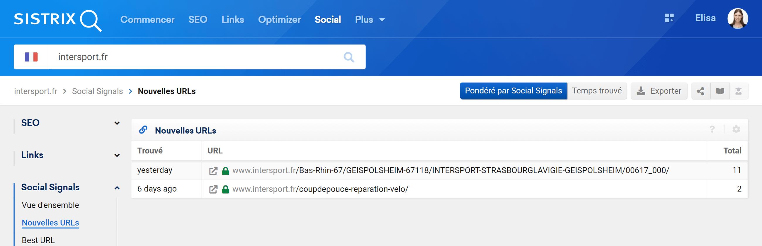 Vous pouvez rapidement voir les nouvelles adresses URL d'un domaine grâce aux signaux sociaux