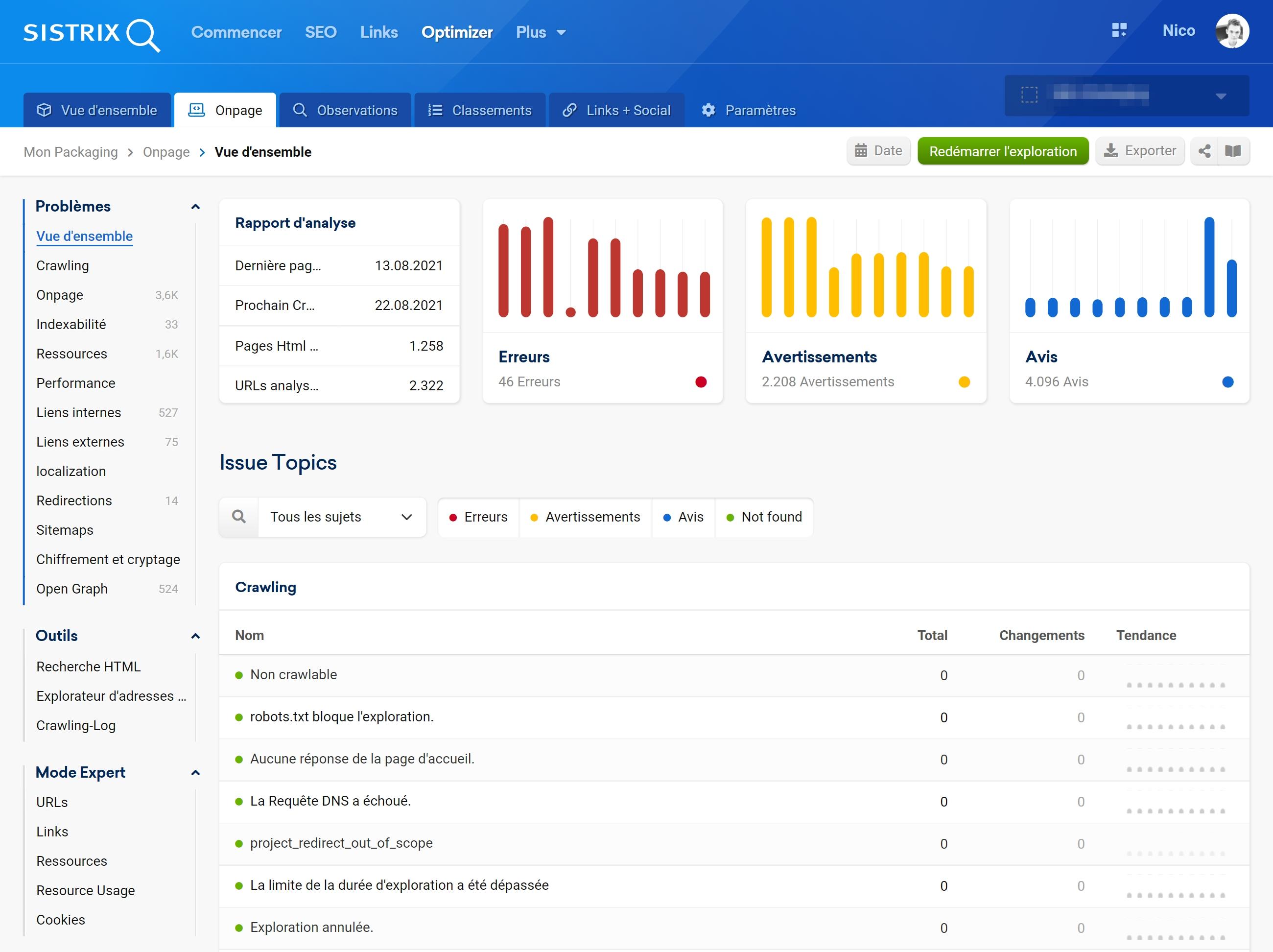 Plus de vérifications On-site dans l'Optimizer