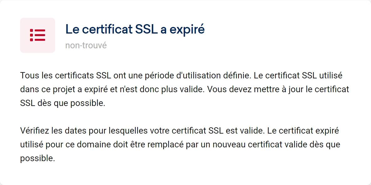 Vérification du certificat SSL comme facteur SEO dans l'Optimizer Sistrix