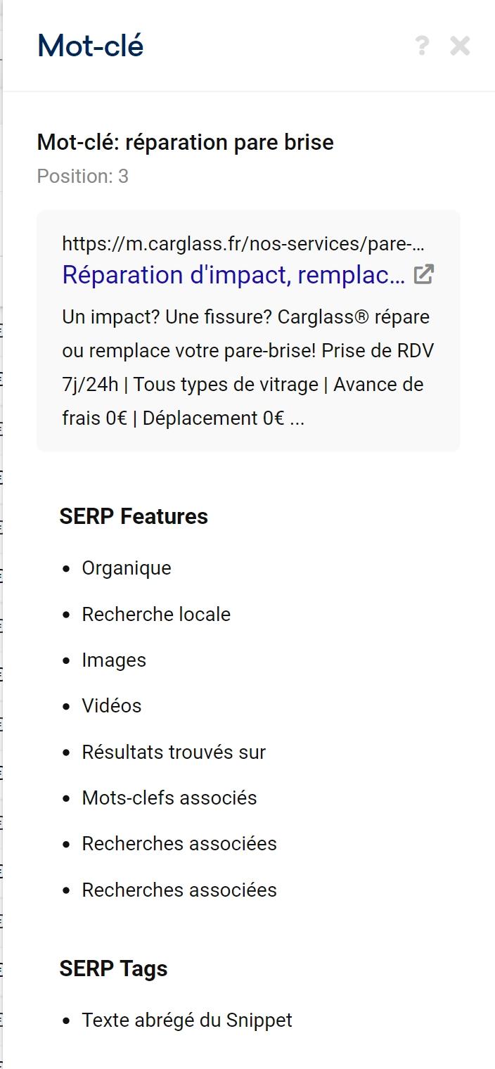 Fonctionnalités de SERP Google apparaissant pour chaque mot-clés